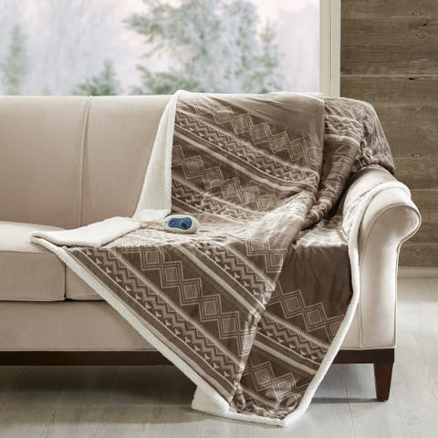 Woolrich Anderson Oversized Mink to Berber Heated Throw 2-Color Option