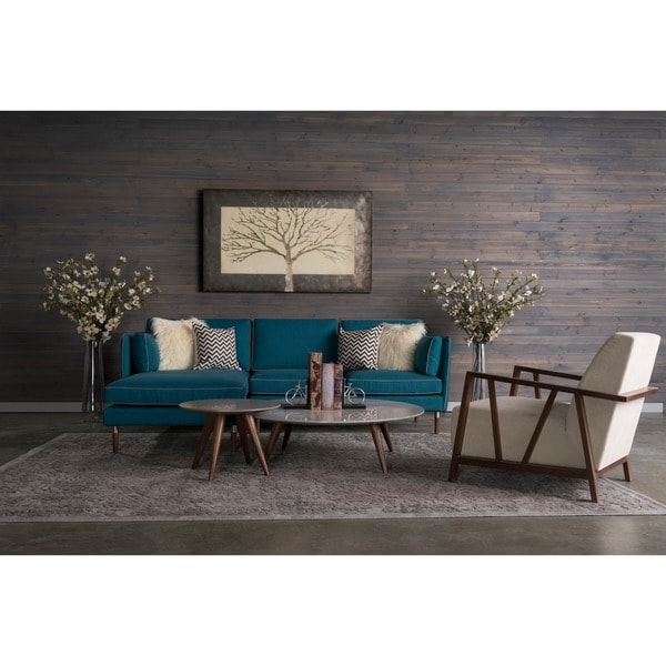 Florence 5 piece mid century teal blue living room set by for Living room 5 piece sets