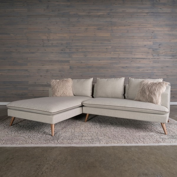 Marco Mid Century Modern 2 Piece Stonewashed Grey Sofa Sectional By RST  Brands