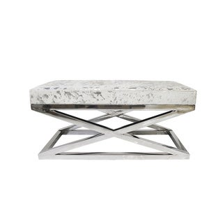 Forest Collection Silver-colored Steel and Cowhide Bench