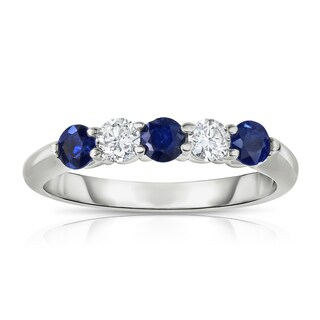 Noray Designs 14k White Gold 5-stone Blue Sapphire and 1/4ct TDW Diamond Ring (G-H, SI1-SI2)