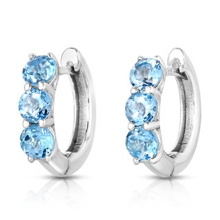 Noray Designs Sterling Silver 4ct TGW Blue Topaz 3-stone Hoop Earrings