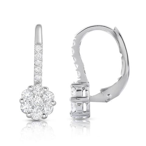 Noray Designs 14k White Gold 7/8ct TDW Diamond Cluster Leverback Earrings