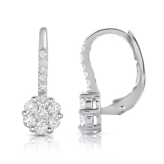 Noray Designs 14k White Gold 7/8ct TDW Diamond Cluster Leverback Earrings (G-H, SI1-SI2)