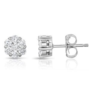 Noray Designs 14k White Gold 1/2ct TDW Diamond Cluster Stud Earrings (G-H, SI1-SI2)