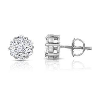 Noray Designs 14k White Gold 1ct TDW Diamond Cluster Stud Earrings (G-H, SI1-SI2)