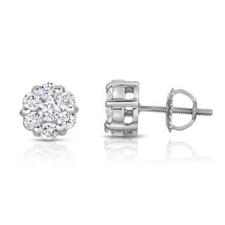 Noray Designs 14k White Gold 1ct TDW Diamond Cluster Stud Earrings