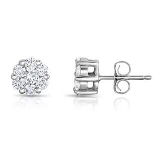 Noray Designs 14k White Gold 3/4ct TDW Diamond Cluster Stud Earrings