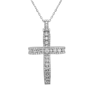 Noray Designs 14k White Gold 1 1/6ct TDW Diamond Cross Pendant (G-H, SI1-SI2)
