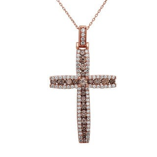 Noray Designs 14k Rose Gold Champagne 3 2/5ct TDW White Diamond Cross Pendant (G-H, SI1-SI2)