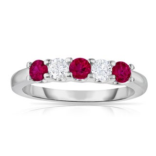 Noray Designs 14k White Gold 5-stone Ruby and 1/4ct TDW Diamond Ring (G-H, SI1-SI2)
