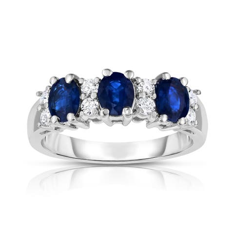 Noray Designs 14k White Gold Oval Blue Sapphire and 1/4ct TDW Diamond Ring (G-H, SI1-SI2)
