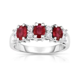 Noray Designs 14k White Gold Oval Ruby and 1/4ct TDW Diamond Ring (G-H, SI1-SI2)