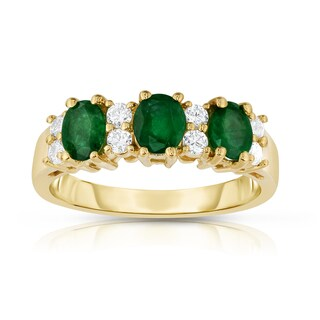 Noray Designs 14k Yellow Gold Oval Emerald and 1/4ct TDW Diamond Ring (G-H, SI1-SI2)