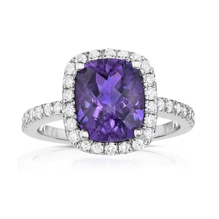 Noray Designs 14k White Gold Emerald-cut Amethyst and 1/2ct TDW Diamond Ring (G-H, SI1-SI2)