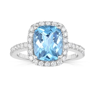 Noray Designs 14k White Gold Swiss Blue Topaz and 1/2ct TDW Diamond Ring (G-H, SI1-SI2)