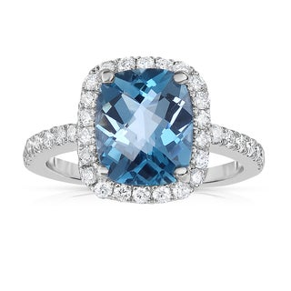 Noray Designs 14k White Gold London Blue Topaz and 1/2ct TDW Diamond Ring (G-H, SI1-SI2)