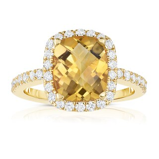 Noray Designs 14k Yellow Gold Emerald-cut Citrine and 1/2ct TDW Diamond Ring (G-H, SI1-SI2)