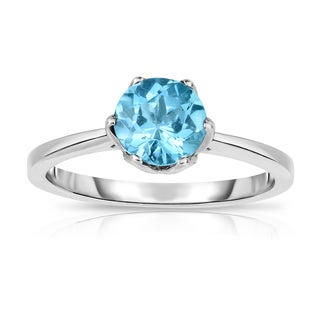 Noray Designs Sterling Silver 1ct TGW Blue Topaz 6-prong Solitaire Ring