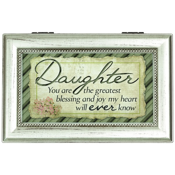 Carson Home Accents Silver Synthetic Wood 'Greatest Daughter' Music Box