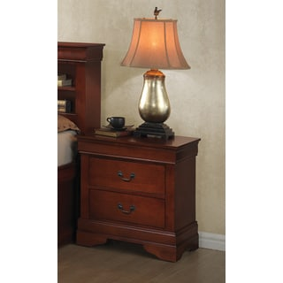 Brown Veneer 2-drawer Nightstand With Antique Brass Handles