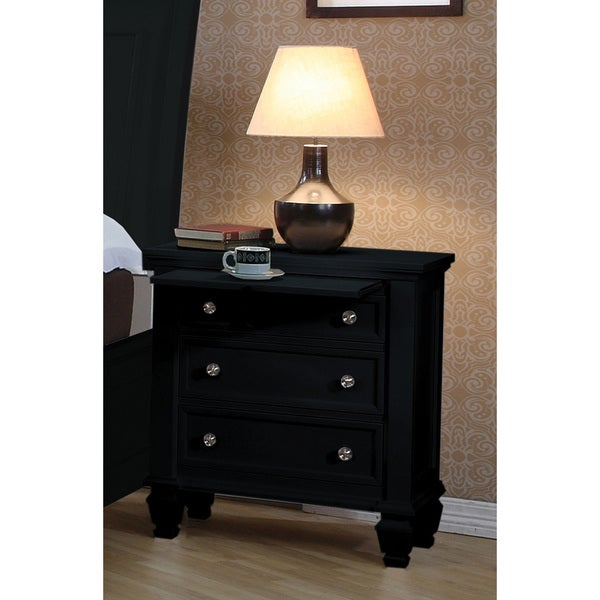 Coaster company black wood 3 drawer nightstand free for Black wood nightstand