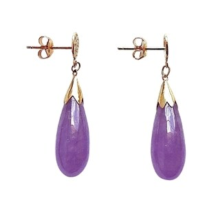 Lavender Jade Teardrop Earrings