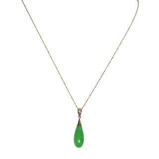 14k Yellow Gold Green Jade Teardrop Pendant Necklace