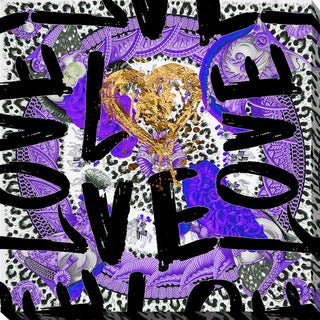 "BY Jodi ""Love Me In Purple"" Giclee Stretched Canvas Wall Art"