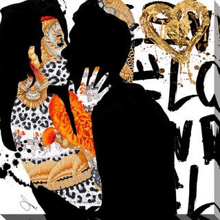 """BY Jodi """"Kiss Me In Gold"""" Giclee Stretched Canvas Wall Art"""