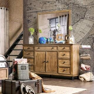 Furniture of America Donno Industrial 2-piece Dark Oak Dresser and Mirror Set