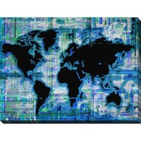 """BY Jodi """"Mad World Blue"""" Giclee Stretched Canvas Wall Art"""