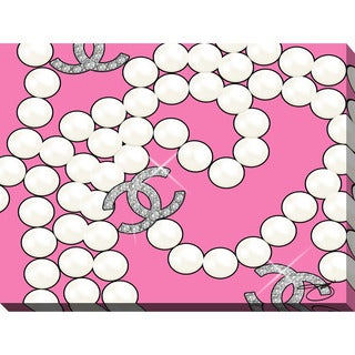 """BY Jodi """"Coco's Pearls In Pink"""" Giclee Stretched Canvas Wall Art"""