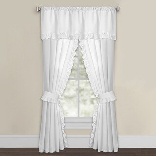 White Microfiber Eyelet Curtain Panel Pair
