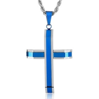 Crucible Blue Plated Polished Stainless Steel Triple Bar Cross Pendant on 24 Inch Rope Chain Necklace