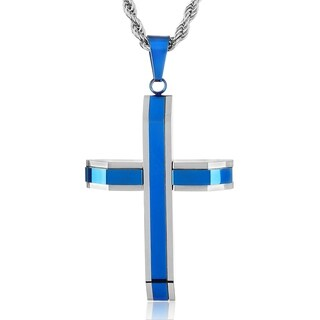 Crucible Blue Plated Polished Stainless Steel Cross Pendant
