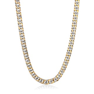 Crucible Men's Two Tone Polished Stainless Steel Cuban Chain Necklace - 24 Inches (10mm Wide)
