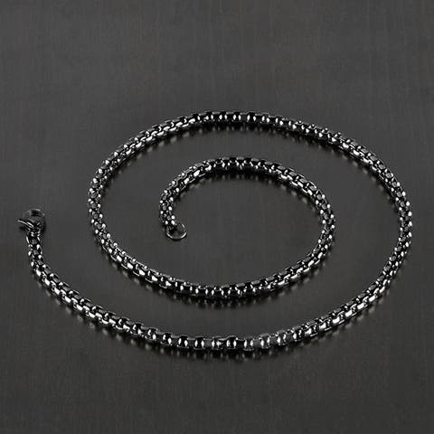 Black Plated Stainless Steel Square Rolo Chain Necklace (5mm Wide)
