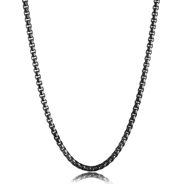 Men's Polished Stainless Steel Textured Rolo Chain Necklace - 24 Inches (5mm Wide)