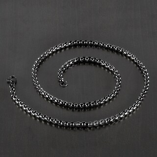 Men's Polished Stainless Steel Textured Rolo Chain Necklace - 24 Inches (5mm Wide) (Option: Black)