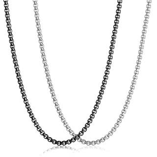 Men's Polished Stainless Steel Textured Rolo Chain Necklace - 24 Inches (5mm Wide)|https://ak1.ostkcdn.com/images/products/12490304/P19300281.jpg?impolicy=medium