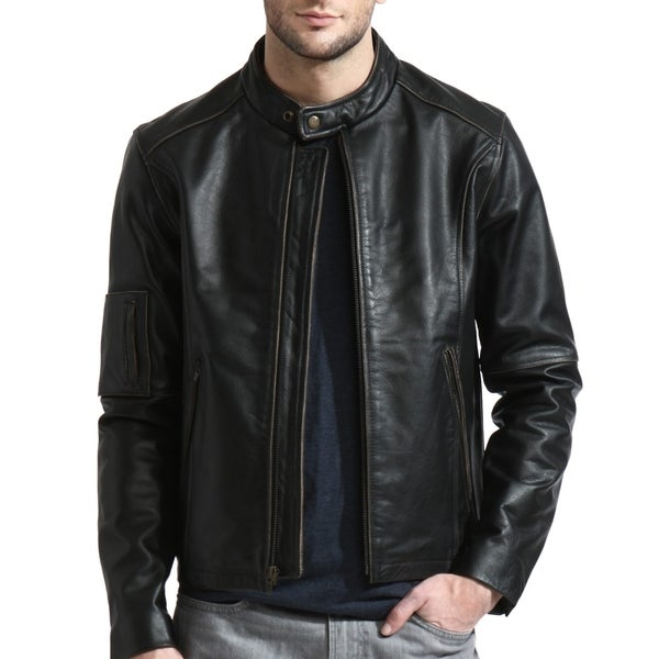 Men's Black Moto Cafe Racer Leather Jacket. Opens flyout.