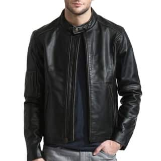 Men's Black Moto Cafe Racer Leather Jacket|https://ak1.ostkcdn.com/images/products/12490321/P19300285.jpg?impolicy=medium