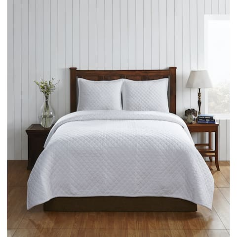 Hayward Diamond Pattern White Cotton Quilt Set