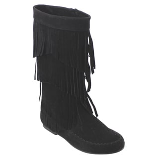 Refresh Women's AD38 Fringe Moccasin Flat Heel Zipper Under Knee High Boots