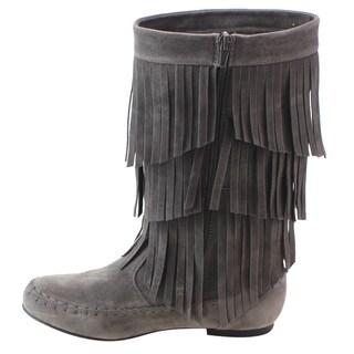 Refresh Women's AD38 Fringe Moccasin Flat Heel Zipper Under Knee High Boots