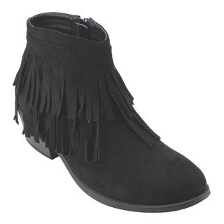 Refresh Women's Black/Tan Faux-suede Ankle Booties