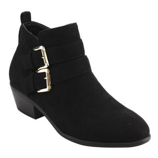 Wild Diva Lounge Women's FD90 Black Faux Suede Dual Buckle Strap Stacked Block Heel Ankle Bootie