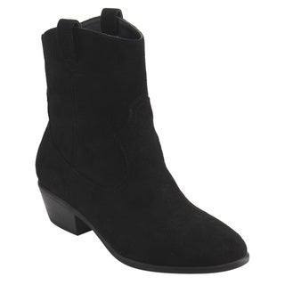Wild Diva Lounge Women's FD85 Faux-suede Pull-on Cowboy Ankle Bootie with Low Block Heel