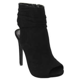 Wild Diva Lounge Women's Ruched Cuff Stiletto Open Heel Ankle Bootie
